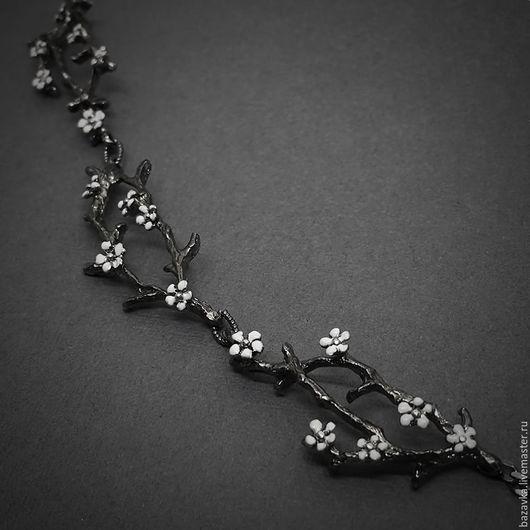 """Колье, бусы ручной работы. Ярмарка Мастеров - ручная работа. Купить Серебряное колье """"Весна"""". Handmade. Цветы, весеннее, с цветами"""