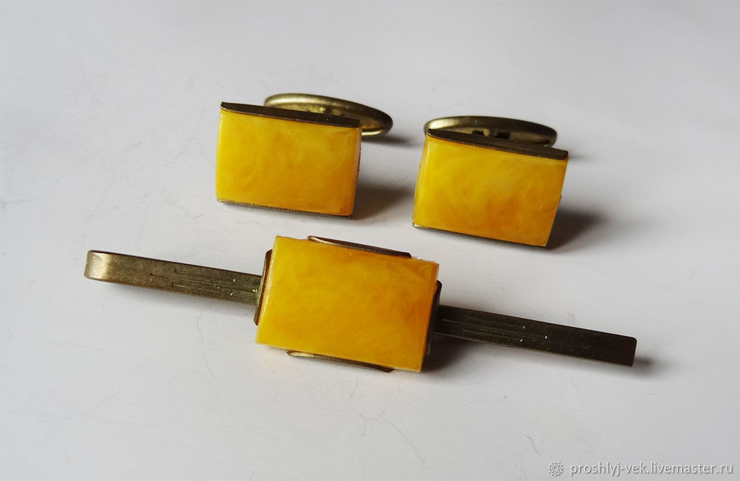 Jewelry set: cuff links and clip, Vintage cufflinks, Moscow,  Фото №1