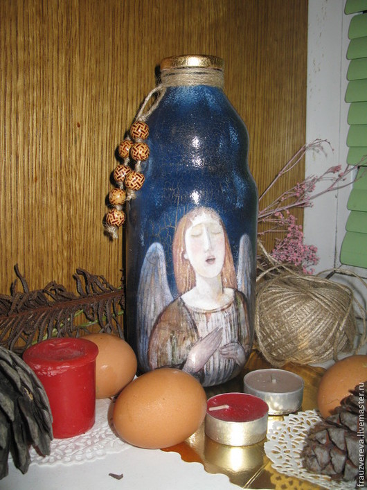 """Декоративная посуда ручной работы. Ярмарка Мастеров - ручная работа. Купить """"Поющий Ангел""""-Бутылка под святую воду. Handmade."""