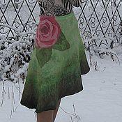 """Одежда ручной работы. Ярмарка Мастеров - ручная работа Юбка """"Роза"""" валяная на шёлке расписанном в технике батик. Handmade."""