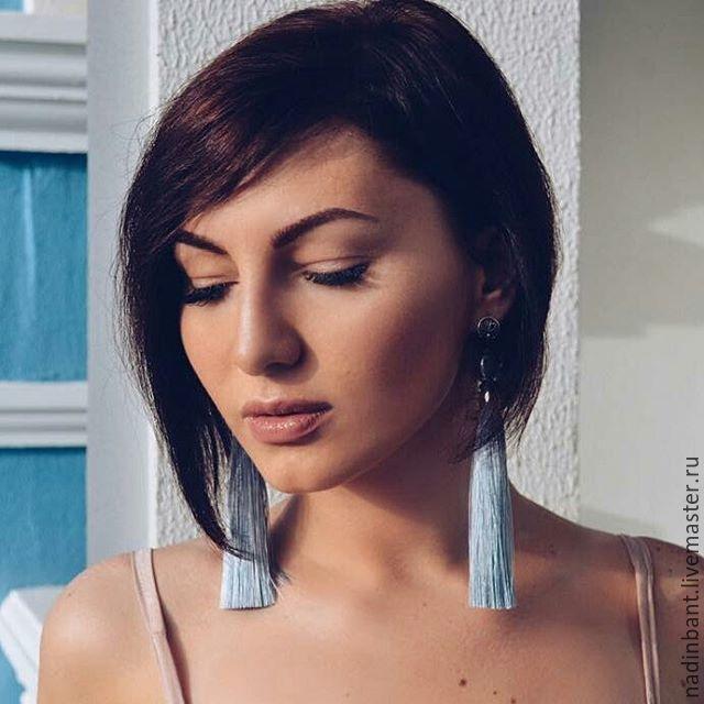 Earring of the brush 'Dove' silk, Baroque pearls, Tassel earrings, St. Petersburg,  Фото №1