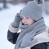 Аксессуары ручной работы. Ярмарка Мастеров - ручная работа комплект шапка-шарф-перчатки. Handmade.