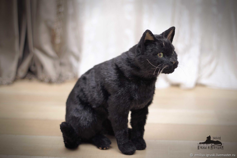 Black Cat. Realistic toy, Stuffed Toys, Tyumen,  Фото №1