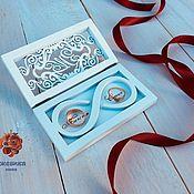 Свадебный салон handmade. Livemaster - original item Ring box with initials and name day, in white. Handmade.