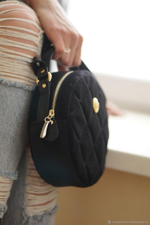 217343c28516 ... Женские сумки ручной работы. Сумка женская бархатная, сумочка круглая  'Блэк-Зефир' ...