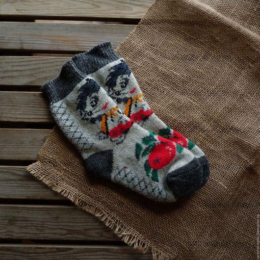 Носки, Чулки ручной работы. Ярмарка Мастеров - ручная работа. Купить Носки позитивные веселые с рисунком ёжик. Handmade. Комбинированный