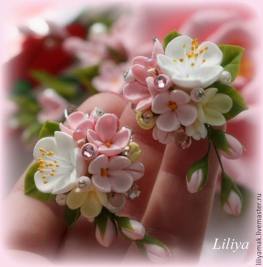 """Серьги ручной работы. Ярмарка Мастеров - ручная работа. Купить Серьги """" Яблоня в цвету-2"""". Handmade. Бледно-розовый"""