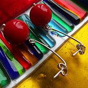 """Украшения ручной работы. Ярмарка Мастеров - ручная работа Серебряные серьги из коралла """"Ягодки"""". Handmade."""