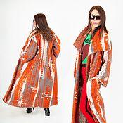 Одежда handmade. Livemaster - original item Orange knitted coat in the style of boho. Warm coat VE0508WK. Handmade.