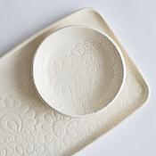 Посуда ручной работы. Ярмарка Мастеров - ручная работа молочно-белое блюдо прямоугольное  - кружевной поднос для закусок. Handmade.