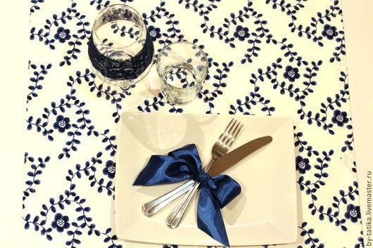"""Кухня ручной работы. Ярмарка Мастеров - ручная работа. Купить Набор для сервировки """"Синие цветы"""". Handmade. Белый, синие цветы"""