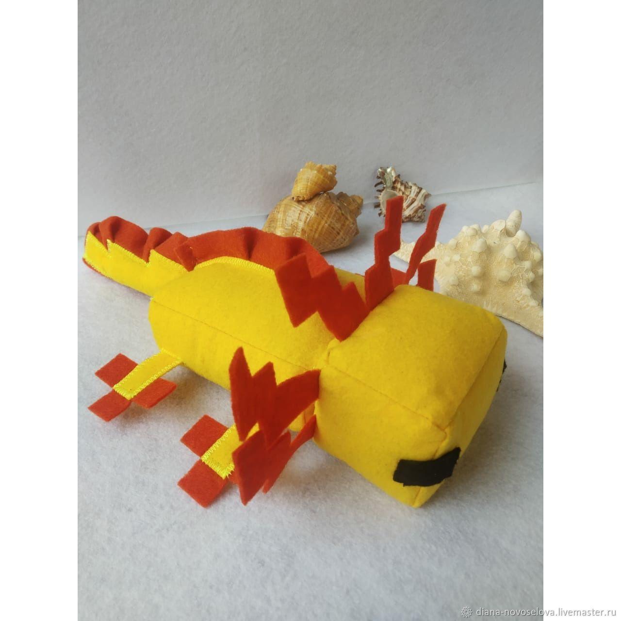 Мягкая игрушка аксолотля из Minecraft (жёлтый цвет), Мягкие игрушки, Нарткала,  Фото №1