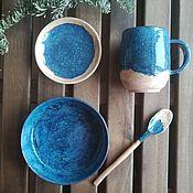 """Сервизы ручной работы. Ярмарка Мастеров - ручная работа Набор посуды для завтрака """"На берегу"""". Handmade."""