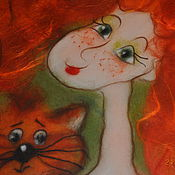 """Картины и панно ручной работы. Ярмарка Мастеров - ручная работа Шерстяная акварель """"Девочка с котом"""". Handmade."""