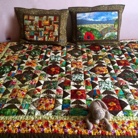 """Текстиль, ковры ручной работы. Ярмарка Мастеров - ручная работа. Купить """"Мёд. Разнотравье""""  лоскутный плед. Handmade. Разноцветный, авангардизм"""