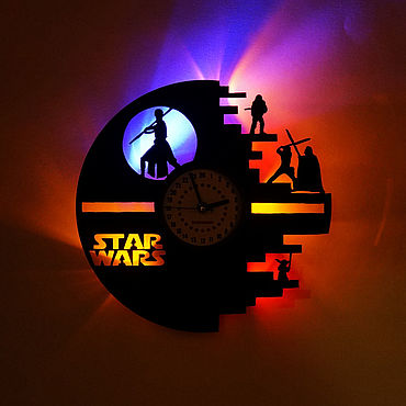 For home and interior handmade. Livemaster - original item Wall clock with LED light from the album Star Wars. Handmade.
