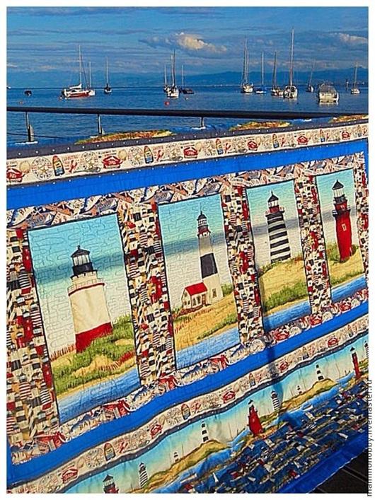 Текстиль, ковры ручной работы. Ярмарка Мастеров - ручная работа. Купить Плед лоскутный мужской Про моря и про маяк. Handmade.