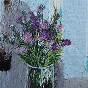 Картины и панно handmade. Livemaster - original item Textile panel Cornflowers. Handmade.