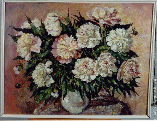 Картины цветов ручной работы. Ярмарка Мастеров - ручная работа. Купить Пионы бело-розовые большие. Handmade. Кремовый, пионы