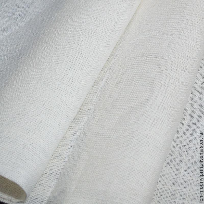 Ткань лён рогожка Бело-молочный