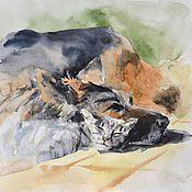 """Картины и панно ручной работы. Ярмарка Мастеров - ручная работа Картина акварелью """"Кот и пёс"""". Handmade."""