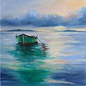 Картины и панно handmade. Livemaster - original item Oil painting Sea Green Boat Seascape. Handmade.