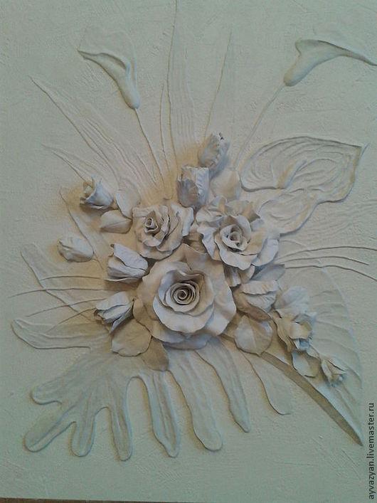 Картины цветов ручной работы. Ярмарка Мастеров - ручная работа. Купить цветочная композиция. Handmade. Ручная лепка, лепное панно