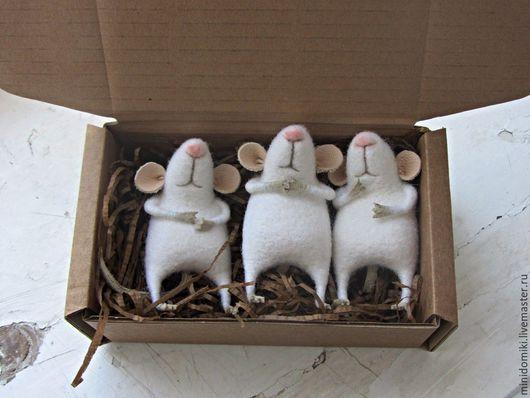 Игрушки животные, ручной работы. Ярмарка Мастеров - ручная работа. Купить Мышата. Handmade. Белый, пушистый, валяная игрушка