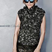 Одежда ручной работы. Ярмарка Мастеров - ручная работа Merino wool handknit bulky woman top. Size S-M.. Handmade.