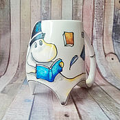 """Посуда ручной работы. Ярмарка Мастеров - ручная работа """"Муми-папа"""" чашка с ножками (0152). Handmade."""