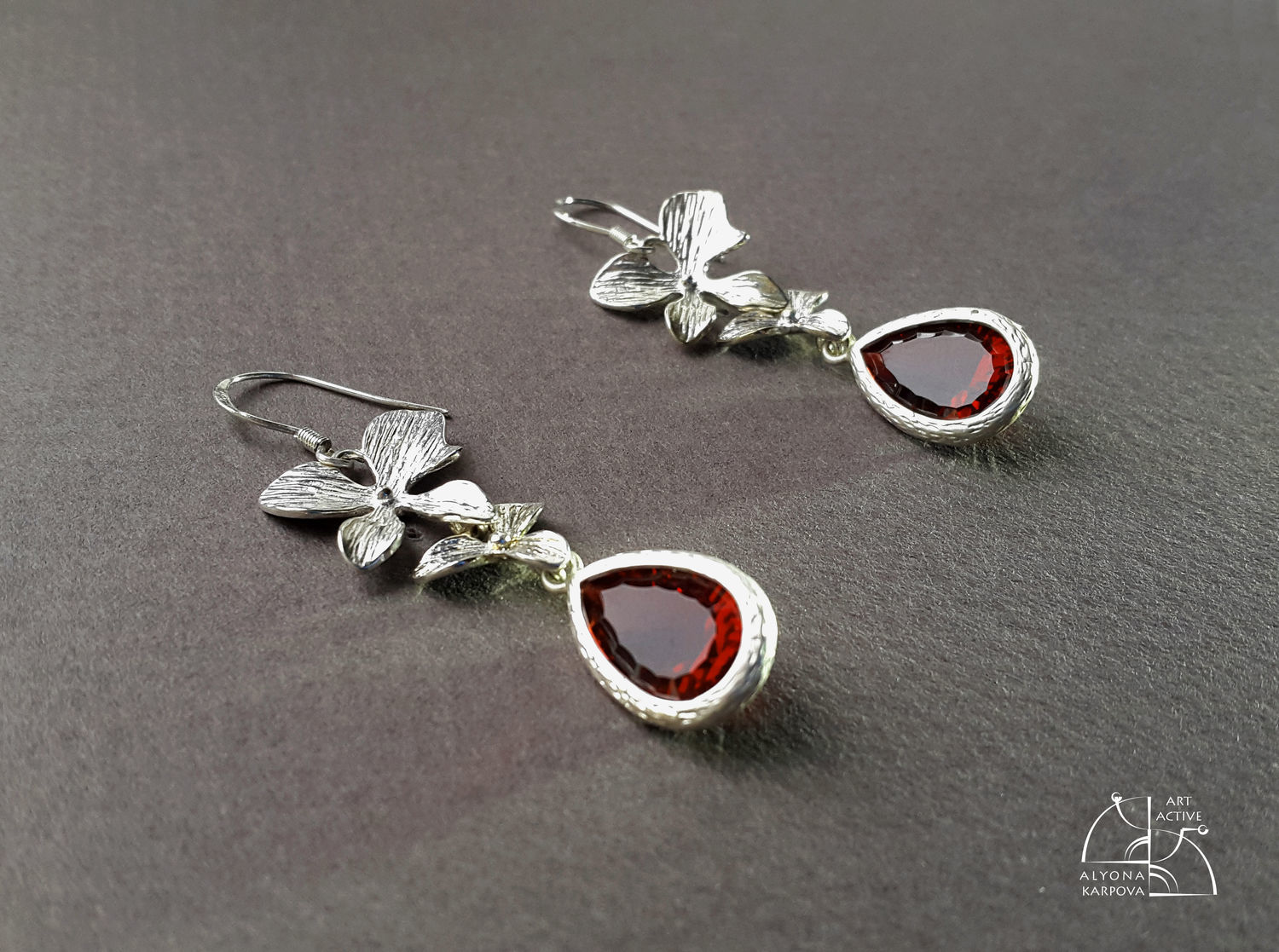 Orchids. Floral earrings with red (wine) cubic Zirconia, Earrings, St. Petersburg, Фото №1