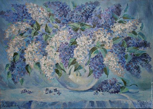 Картины цветов ручной работы. Ярмарка Мастеров - ручная работа. Купить Сирени гроздья душистые. Handmade. Комбинированный, букет цветов