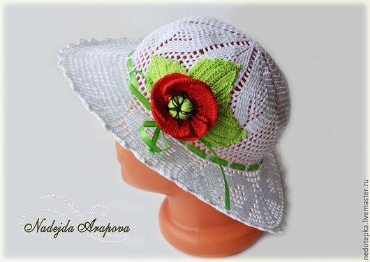 Шляпы ручной работы. Ярмарка Мастеров - ручная работа. Купить Шляпка детская сердечки. Handmade. Белый, летняя шляпка крючком