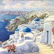 Картины и панно handmade. Livemaster - original item Santorini oil painting. Handmade.