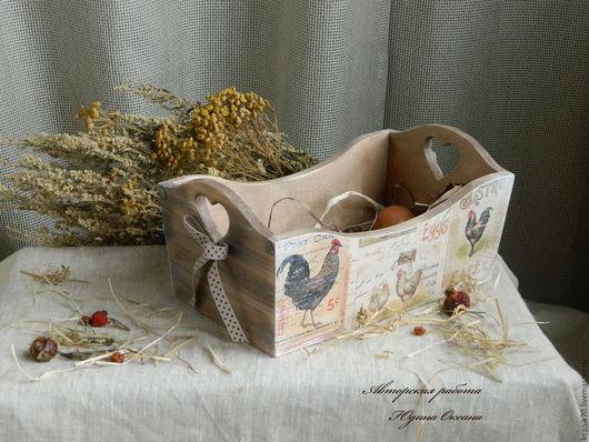 Короб `На ферме` для булочек, фруктов и  сладостей. Декупаж. Подарки ручной работы. Автор Юдина Оксана.