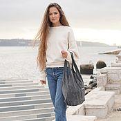 Сумки и аксессуары handmade. Livemaster - original item Bag suede leather Grey Bag large shopper shopping Bag t shirt Bag. Handmade.