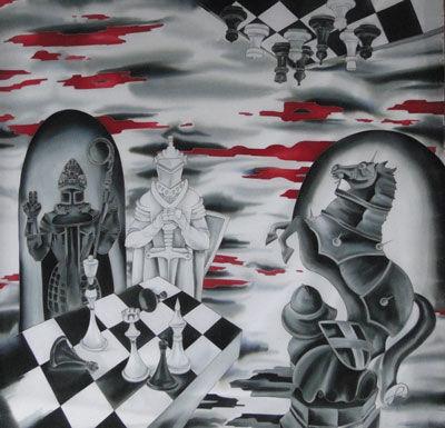 Шали, палантины ручной работы. Ярмарка Мастеров - ручная работа. Купить Платок-картина Шахматы. Handmade. Холодный батик, подарок