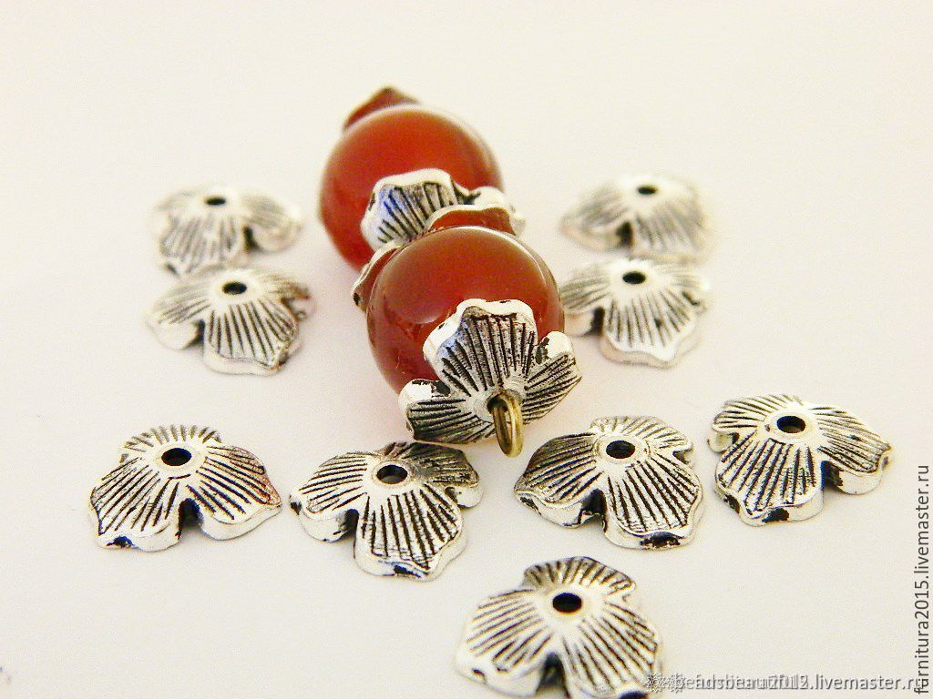 Caps for beads, silver color, 10 mm. (08) per piece, Beads1, Saratov,  Фото №1