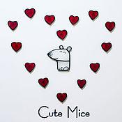 Магниты ручной работы. Ярмарка Мастеров - ручная работа Подарок на День святого Валентина девушке Cute Mice  #86. Handmade.