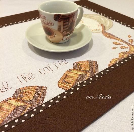 """Текстиль, ковры ручной работы. Ярмарка Мастеров - ручная работа. Купить Ретро льняная подстановочная салфетка """"Кофе с шоколадом"""". Handmade."""
