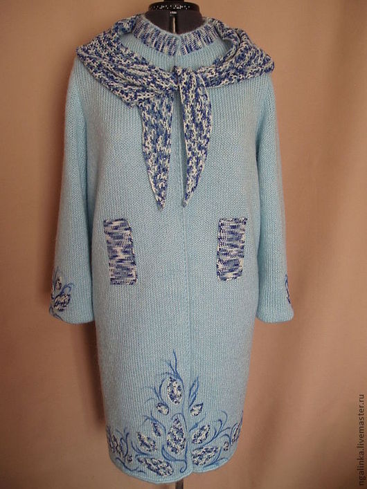 Пиджаки, жакеты ручной работы. Ярмарка Мастеров - ручная работа. Купить пальто из мохера Весеннее настроение. Handmade. Голубой