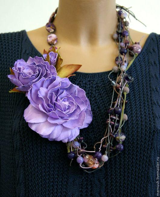 """Колье, бусы ручной работы. Ярмарка Мастеров - ручная работа. Купить Колье """"Сиреневые мечты"""". Handmade. Фиолетовый цветок"""