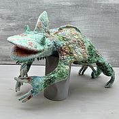 Войлочная игрушка ручной работы. Ярмарка Мастеров - ручная работа Войлочная игрушка: Хамелеон. Handmade.