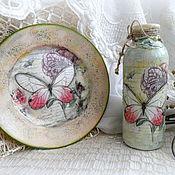 Подарки к праздникам ручной работы. Ярмарка Мастеров - ручная работа ваза+тарелочка на стену  весенний подарок. Handmade.