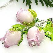 Украшения ручной работы. Ярмарка Мастеров - ручная работа Кулон Английские розы 925 серебро лэмпворк lampwork роза. Handmade.
