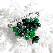 Украшения handmade. Livemaster - original item Brooch made of natural malachite and agate. Handmade.