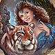"""Кулоны, подвески ручной работы. Ярмарка Мастеров - ручная работа. Купить Кулон """"Её тигр"""". Handmade. Коричневый, живопись маслом"""