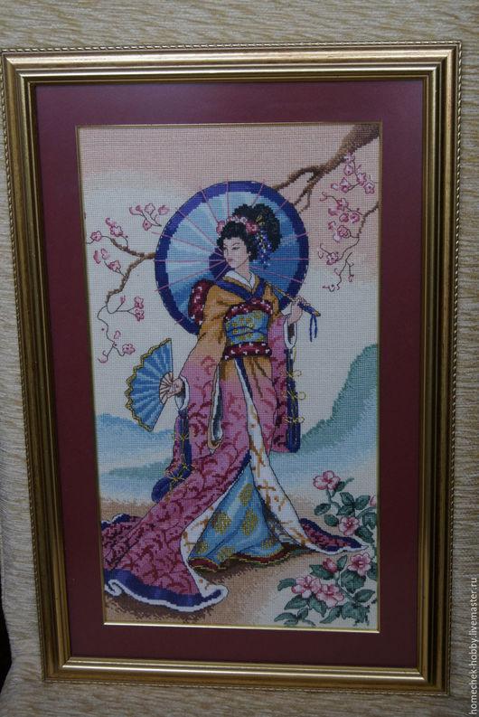 Люди, ручной работы. Ярмарка Мастеров - ручная работа. Купить Японка. Handmade. Комбинированный, вышивка, Вышивка крестом, хлопок, пластик