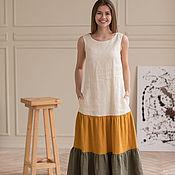 Одежда handmade. Livemaster - original item Gradient linen dress with wings. Handmade.