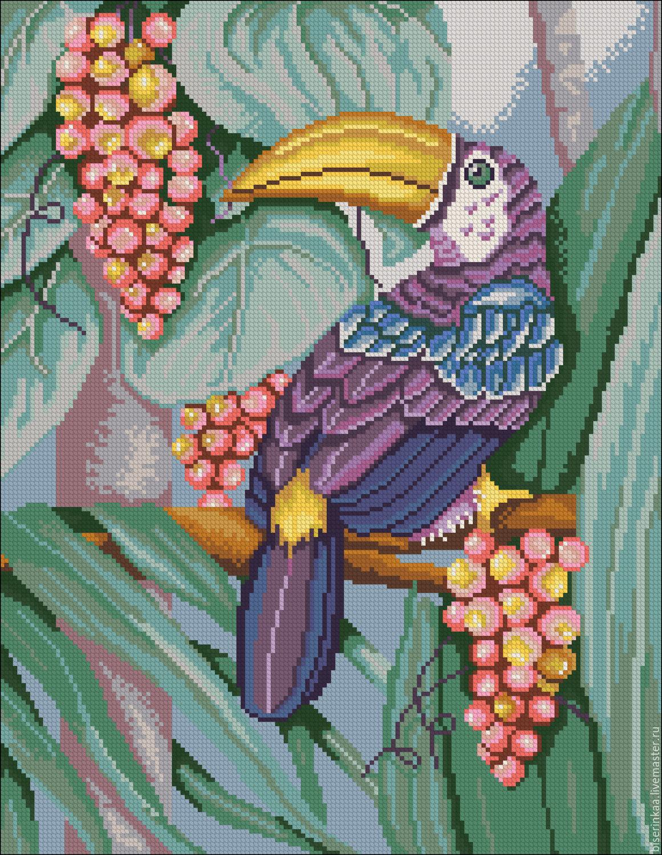 Птица схема вышивки бисером